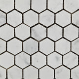 "Carrara White Marble Polished 1"" Mini Hexagon Mosaic Tile - American Tile Depot - Commercial and Residential (Interior & Exterior), Indoor, Outdoor, Shower, Backsplash, Bathroom, Kitchen, Deck & Patio, Decorative, Floor, Wall, Ceiling, Powder Room - 2"