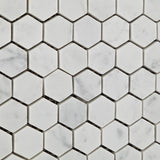 "Carrara White Marble Polished 1"" Mini Hexagon Mosaic Tile - American Tile Depot - Commercial and Residential (Interior & Exterior), Indoor, Outdoor, Shower, Backsplash, Bathroom, Kitchen, Deck & Patio, Decorative, Floor, Wall, Ceiling, Powder Room - 3"