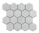 "Carrara White Marble Polished 3"" Hexagon Mosaic Tile - American Tile Depot - Commercial and Residential (Interior & Exterior), Indoor, Outdoor, Shower, Backsplash, Bathroom, Kitchen, Deck & Patio, Decorative, Floor, Wall, Ceiling, Powder Room - 1"