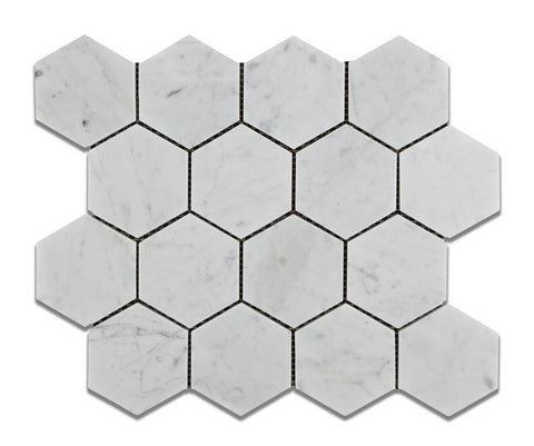 "Carrara White Marble Honed 3"" Hexagon Mosaic Tile - American Tile Depot - Commercial and Residential (Interior & Exterior), Indoor, Outdoor, Shower, Backsplash, Bathroom, Kitchen, Deck & Patio, Decorative, Floor, Wall, Ceiling, Powder Room - 1"