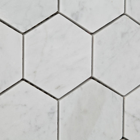 Carrara White Marble 3 Hexagon Mosaic Tile Honed