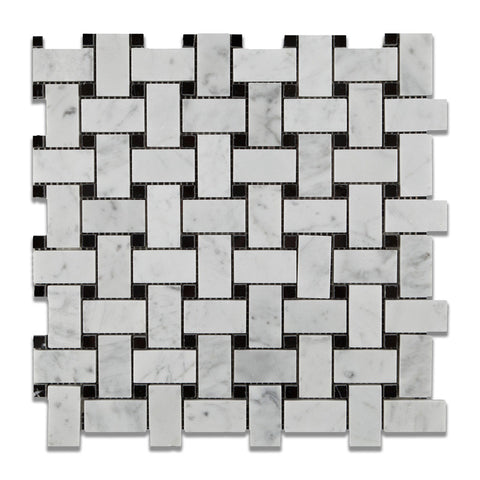 Carrara White Marble Polished Basketweave Mosaic Tile w/ Black Dots - American Tile Depot - Commercial and Residential (Interior & Exterior), Indoor, Outdoor, Shower, Backsplash, Bathroom, Kitchen, Deck & Patio, Decorative, Floor, Wall, Ceiling, Powder Room - 1