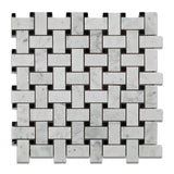 Carrara White Marble Honed Basketweave Mosaic Tile w/ Black Dots - American Tile Depot - Commercial and Residential (Interior & Exterior), Indoor, Outdoor, Shower, Backsplash, Bathroom, Kitchen, Deck & Patio, Decorative, Floor, Wall, Ceiling, Powder Room - 1