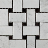 Carrara White Marble Honed Basketweave Mosaic Tile w/ Black Dots - American Tile Depot - Commercial and Residential (Interior & Exterior), Indoor, Outdoor, Shower, Backsplash, Bathroom, Kitchen, Deck & Patio, Decorative, Floor, Wall, Ceiling, Powder Room - 2