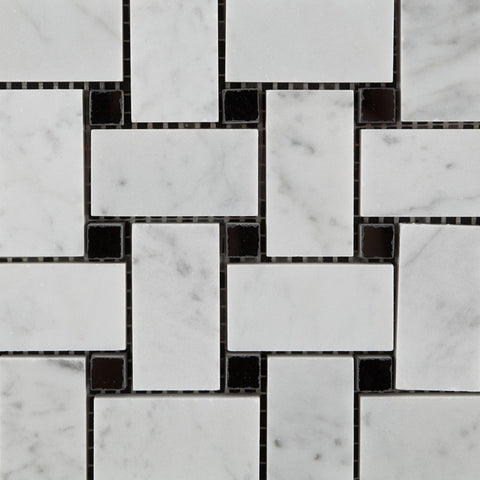 Carrara White Marble Basketweave Mosaic Tile Honed Black Dots