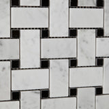 Carrara White Marble Honed Basketweave Mosaic Tile w/ Black Dots - American Tile Depot - Commercial and Residential (Interior & Exterior), Indoor, Outdoor, Shower, Backsplash, Bathroom, Kitchen, Deck & Patio, Decorative, Floor, Wall, Ceiling, Powder Room - 3