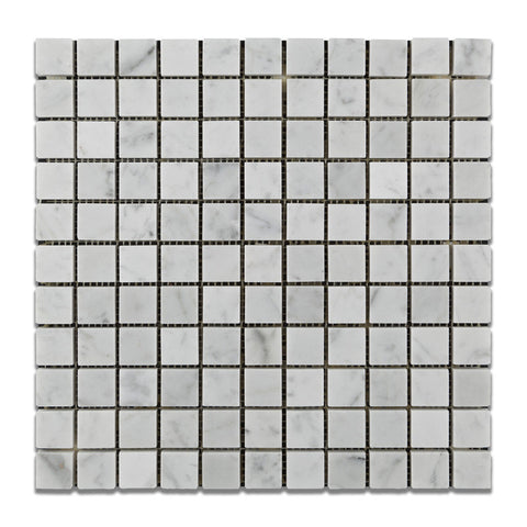 1 X 1 Carrara White Marble Polished Mosaic Tile - American Tile Depot - Shower, Backsplash, Bathroom, Kitchen, Deck & Patio, Decorative, Floor, Wall, Ceiling, Powder Room, Indoor, Outdoor, Commercial, Residential, Interior, Exterior
