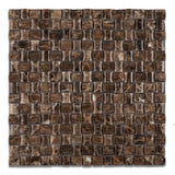 Emperador Dark Marble Polished 3D Small Bread Mosaic Tile - American Tile Depot - Commercial and Residential (Interior & Exterior), Indoor, Outdoor, Shower, Backsplash, Bathroom, Kitchen, Deck & Patio, Decorative, Floor, Wall, Ceiling, Powder Room - 1