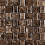 Emperador Dark Marble Polished 3D Small Bread Mosaic Tile - American Tile Depot - Commercial and Residential (Interior & Exterior), Indoor, Outdoor, Shower, Backsplash, Bathroom, Kitchen, Deck & Patio, Decorative, Floor, Wall, Ceiling, Powder Room - 2