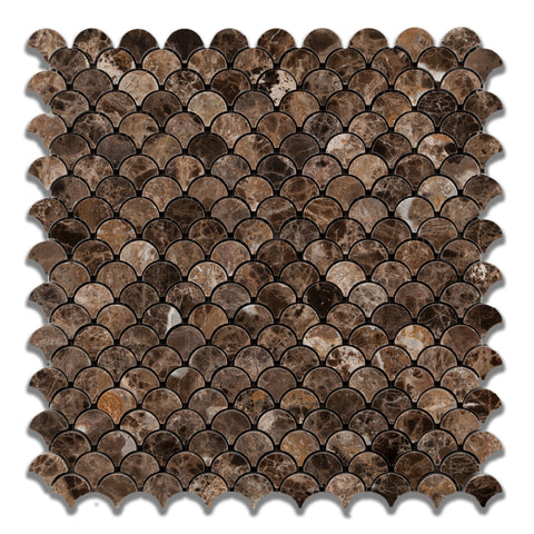 Emperador Dark Marble Polished Fan Mosaic Tile - American Tile Depot - Commercial and Residential (Interior & Exterior), Indoor, Outdoor, Shower, Backsplash, Bathroom, Kitchen, Deck & Patio, Decorative, Floor, Wall, Ceiling, Powder Room - 1