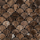 Emperador Dark Marble Polished Fan Mosaic Tile - American Tile Depot - Commercial and Residential (Interior & Exterior), Indoor, Outdoor, Shower, Backsplash, Bathroom, Kitchen, Deck & Patio, Decorative, Floor, Wall, Ceiling, Powder Room - 2
