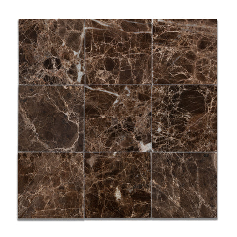 4 X 4 Emperador Dark Marble Polished Field Tile - American Tile Depot - Commercial and Residential (Interior & Exterior), Indoor, Outdoor, Shower, Backsplash, Bathroom, Kitchen, Deck & Patio, Decorative, Floor, Wall, Ceiling, Powder Room - 1
