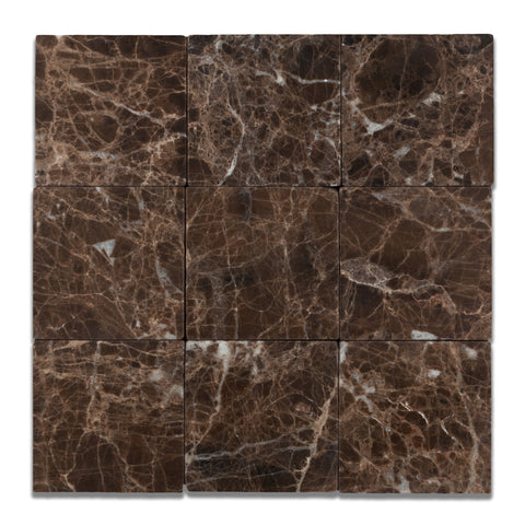 4 X 4 Emperador Dark Marble Tumbled Field Tile - American Tile Depot - Commercial and Residential (Interior & Exterior), Indoor, Outdoor, Shower, Backsplash, Bathroom, Kitchen, Deck & Patio, Decorative, Floor, Wall, Ceiling, Powder Room - 1