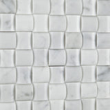 Carrara White Marble Polished 3D Small Bread Mosaic Tile - American Tile Depot - Commercial and Residential (Interior & Exterior), Indoor, Outdoor, Shower, Backsplash, Bathroom, Kitchen, Deck & Patio, Decorative, Floor, Wall, Ceiling, Powder Room - 3