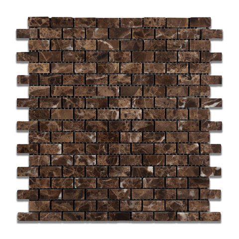 Emperador Dark Marble Tumbled Baby Brick Mosaic Tile - American Tile Depot - Commercial and Residential (Interior & Exterior), Indoor, Outdoor, Shower, Backsplash, Bathroom, Kitchen, Deck & Patio, Decorative, Floor, Wall, Ceiling, Powder Room - 1