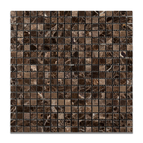 5/8 X 5/8 Emperador Dark Marble Polished Mosaic Tile - American Tile Depot - Commercial and Residential (Interior & Exterior), Indoor, Outdoor, Shower, Backsplash, Bathroom, Kitchen, Deck & Patio, Decorative, Floor, Wall, Ceiling, Powder Room - 1