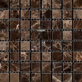 5/8 X 5/8 Emperador Dark Marble Polished Mosaic Tile - American Tile Depot - Commercial and Residential (Interior & Exterior), Indoor, Outdoor, Shower, Backsplash, Bathroom, Kitchen, Deck & Patio, Decorative, Floor, Wall, Ceiling, Powder Room - 2