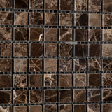5/8 X 5/8 Emperador Dark Marble Polished Mosaic Tile - American Tile Depot - Commercial and Residential (Interior & Exterior), Indoor, Outdoor, Shower, Backsplash, Bathroom, Kitchen, Deck & Patio, Decorative, Floor, Wall, Ceiling, Powder Room - 3