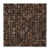 5/8 X 5/8 Emperador Dark Marble Tumbled Mosaic Tile - American Tile Depot - Commercial and Residential (Interior & Exterior), Indoor, Outdoor, Shower, Backsplash, Bathroom, Kitchen, Deck & Patio, Decorative, Floor, Wall, Ceiling, Powder Room - 1