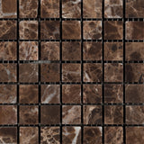 5/8 X 5/8 Emperador Dark Marble Tumbled Mosaic Tile - American Tile Depot - Commercial and Residential (Interior & Exterior), Indoor, Outdoor, Shower, Backsplash, Bathroom, Kitchen, Deck & Patio, Decorative, Floor, Wall, Ceiling, Powder Room - 2