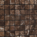 5/8 X 5/8 Emperador Dark Marble Tumbled Mosaic Tile - American Tile Depot - Commercial and Residential (Interior & Exterior), Indoor, Outdoor, Shower, Backsplash, Bathroom, Kitchen, Deck & Patio, Decorative, Floor, Wall, Ceiling, Powder Room - 3