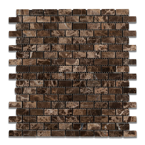 Emperador Dark Marble Polished Baby Brick Mosaic Tile - American Tile Depot - Commercial and Residential (Interior & Exterior), Indoor, Outdoor, Shower, Backsplash, Bathroom, Kitchen, Deck & Patio, Decorative, Floor, Wall, Ceiling, Powder Room - 1