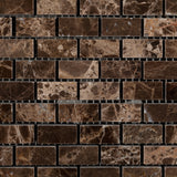 Emperador Dark Marble Polished Baby Brick Mosaic Tile - American Tile Depot - Commercial and Residential (Interior & Exterior), Indoor, Outdoor, Shower, Backsplash, Bathroom, Kitchen, Deck & Patio, Decorative, Floor, Wall, Ceiling, Powder Room - 3