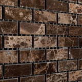 Emperador Dark Marble Polished Baby Brick Mosaic Tile - American Tile Depot - Commercial and Residential (Interior & Exterior), Indoor, Outdoor, Shower, Backsplash, Bathroom, Kitchen, Deck & Patio, Decorative, Floor, Wall, Ceiling, Powder Room - 2
