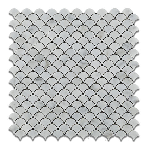 Carrara White Marble Honed Fan Mosaic Tile - American Tile Depot - Commercial and Residential (Interior & Exterior), Indoor, Outdoor, Shower, Backsplash, Bathroom, Kitchen, Deck & Patio, Decorative, Floor, Wall, Ceiling, Powder Room - 1