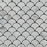 Carrara White Marble Honed Fan Mosaic Tile - American Tile Depot - Commercial and Residential (Interior & Exterior), Indoor, Outdoor, Shower, Backsplash, Bathroom, Kitchen, Deck & Patio, Decorative, Floor, Wall, Ceiling, Powder Room - 2