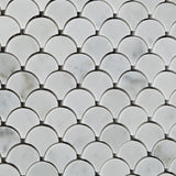 Carrara White Marble Polished Fan Mosaic Tile - American Tile Depot - Commercial and Residential (Interior & Exterior), Indoor, Outdoor, Shower, Backsplash, Bathroom, Kitchen, Deck & Patio, Decorative, Floor, Wall, Ceiling, Powder Room - 3