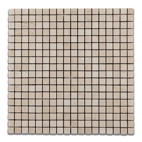 5/8 X 5/8 Crema Marfil Marble Tumbled Mosaic Tile - American Tile Depot - Commercial and Residential (Interior & Exterior), Indoor, Outdoor, Shower, Backsplash, Bathroom, Kitchen, Deck & Patio, Decorative, Floor, Wall, Ceiling, Powder Room - 1