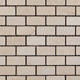 Crema Marfil Marble Tumbled Baby Brick Mosaic Tile - American Tile Depot - Commercial and Residential (Interior & Exterior), Indoor, Outdoor, Shower, Backsplash, Bathroom, Kitchen, Deck & Patio, Decorative, Floor, Wall, Ceiling, Powder Room - 2