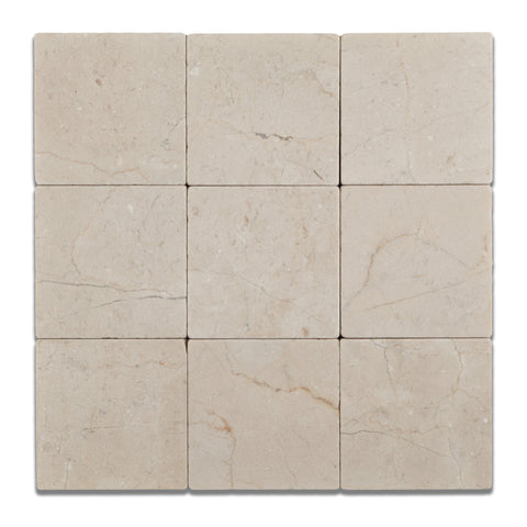 4 X 4 Crema Marfil Marble Tumbled Field Tile - American Tile Depot - Commercial and Residential (Interior & Exterior), Indoor, Outdoor, Shower, Backsplash, Bathroom, Kitchen, Deck & Patio, Decorative, Floor, Wall, Ceiling, Powder Room - 1