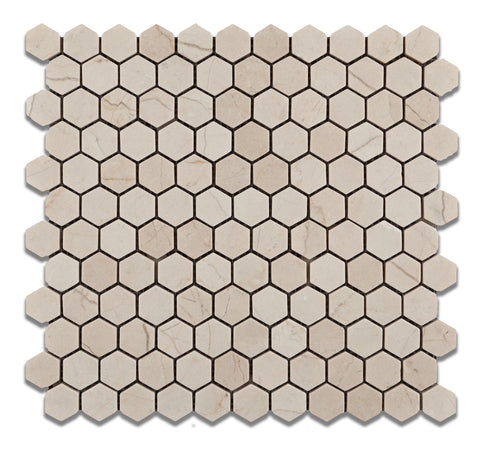 "Crema Marfil Marble Tumbled 1"" Mini Hexagon Mosaic Tile - American Tile Depot - Commercial and Residential (Interior & Exterior), Indoor, Outdoor, Shower, Backsplash, Bathroom, Kitchen, Deck & Patio, Decorative, Floor, Wall, Ceiling, Powder Room - 1"