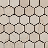"Crema Marfil Marble Tumbled 1"" Mini Hexagon Mosaic Tile - American Tile Depot - Commercial and Residential (Interior & Exterior), Indoor, Outdoor, Shower, Backsplash, Bathroom, Kitchen, Deck & Patio, Decorative, Floor, Wall, Ceiling, Powder Room - 2"