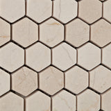 "Crema Marfil Marble Tumbled 1"" Mini Hexagon Mosaic Tile - American Tile Depot - Commercial and Residential (Interior & Exterior), Indoor, Outdoor, Shower, Backsplash, Bathroom, Kitchen, Deck & Patio, Decorative, Floor, Wall, Ceiling, Powder Room - 3"
