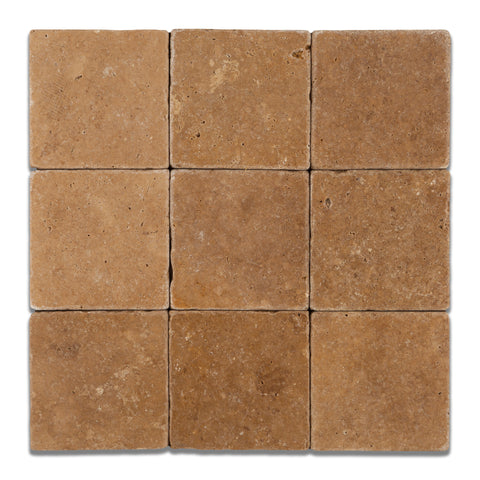 4 X 4 Noce Travertine Tumbled Field Tile - American Tile Depot - Commercial and Residential (Interior & Exterior), Indoor, Outdoor, Shower, Backsplash, Bathroom, Kitchen, Deck & Patio, Decorative, Floor, Wall, Ceiling, Powder Room - 1