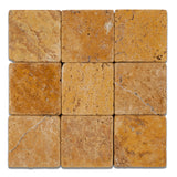 4 X 4 Gold / Yellow Travertine Tumbled Field Tile - American Tile Depot -,
