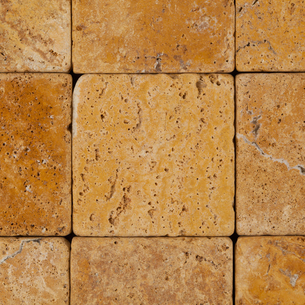 4 X 4 Gold Yellow Travertine Tumbled Field Tile