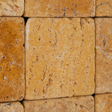 4 X 4 Gold / Yellow Travertine Tumbled Field Tile - American Tile Depot - Commercial and Residential (Interior & Exterior), Indoor, Outdoor, Shower, Backsplash, Bathroom, Kitchen, Deck & Patio, Decorative, Floor, Wall, Ceiling, Powder Room - 3