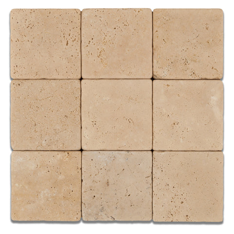 4 X 4 Ivory Travertine Tumbled Field Tile - American Tile Depot - Commercial and Residential (Interior & Exterior), Indoor, Outdoor, Shower, Backsplash, Bathroom, Kitchen, Deck & Patio, Decorative, Floor, Wall, Ceiling, Powder Room - 1