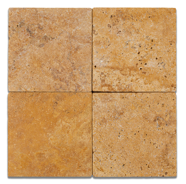6 X 6 Gold Yellow Travertine Square Field Tile Tumbled