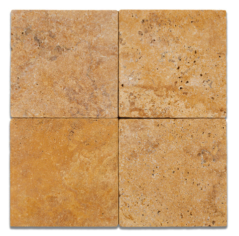 6 X 6 Gold / Yellow Travertine Tumbled Field Tile - American Tile Depot - Commercial and Residential (Interior & Exterior), Indoor, Outdoor, Shower, Backsplash, Bathroom, Kitchen, Deck & Patio, Decorative, Floor, Wall, Ceiling, Powder Room - 1