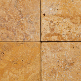 6 X 6 Gold / Yellow Travertine Tumbled Field Tile - American Tile Depot - Commercial and Residential (Interior & Exterior), Indoor, Outdoor, Shower, Backsplash, Bathroom, Kitchen, Deck & Patio, Decorative, Floor, Wall, Ceiling, Powder Room - 2