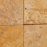 6 X 6 Gold / Yellow Travertine Tumbled Field Tile - American Tile Depot - Commercial and Residential (Interior & Exterior), Indoor, Outdoor, Shower, Backsplash, Bathroom, Kitchen, Deck & Patio, Decorative, Floor, Wall, Ceiling, Powder Room - 3