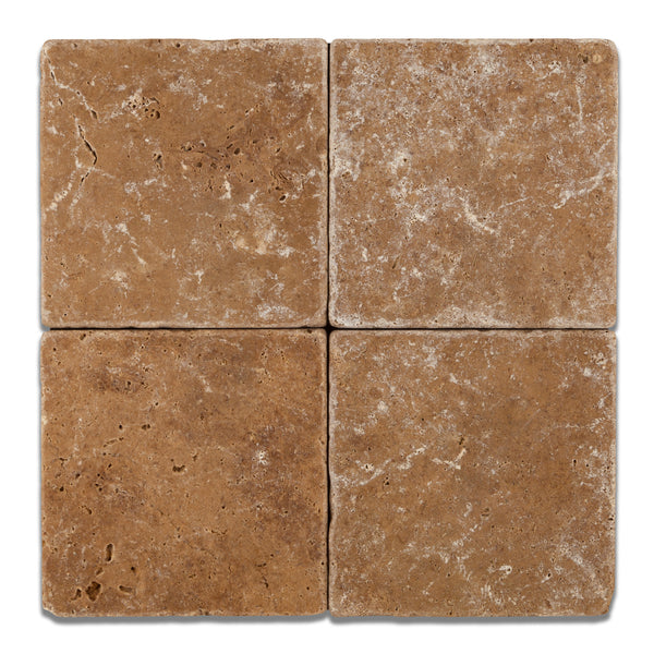 6 X 6 Noce Travertine Square Field Tile Tumbled