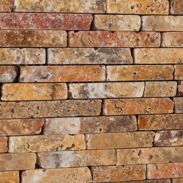 Scabos Travertine Random Strip Mosaic Tile Tumbled
