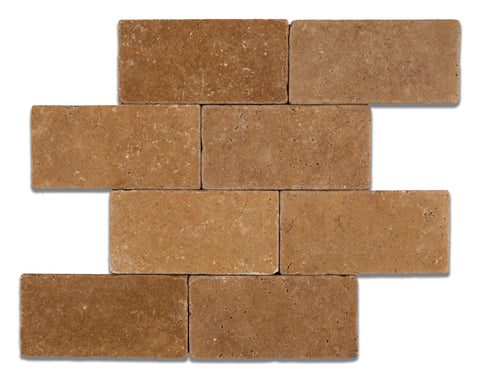 3 X 6 Noce Travertine Tumbled Subway Brick Field Tile - American Tile Depot - Shower, Backsplash, Bathroom, Kitchen, Deck & Patio, Decorative, Floor, Wall, Ceiling, Powder Room, Indoor, Outdoor, Commercial, Residential, Interior, Exterior
