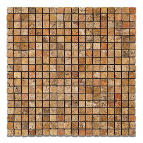 5/8 X 5/8 Scabos Travertine Tumbled Mosaic Tile - American Tile Depot - Commercial and Residential (Interior & Exterior), Indoor, Outdoor, Shower, Backsplash, Bathroom, Kitchen, Deck & Patio, Decorative, Floor, Wall, Ceiling, Powder Room - 1